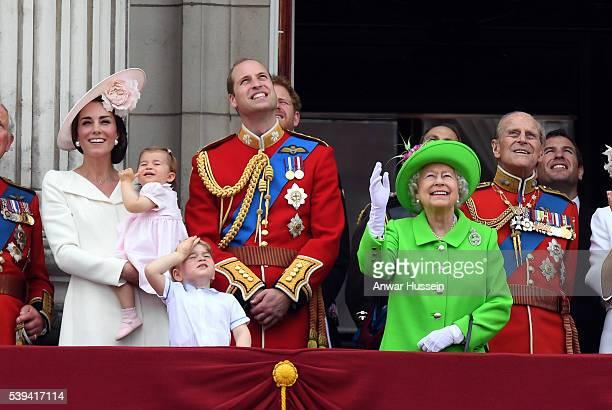 Catherine Duchess of Cambridge Princess Charlotte of Cambridge Prince George Prince William Duke of Cambridge Queen Elizabeth ll and Prince Philip...