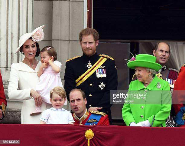 Catherine, Duchess of Cambridge, Princess Charlotte of Cambridge, Prince George, Prince William, Duke of Cambridge, Prince Harry, Queen Elizabeth ll...