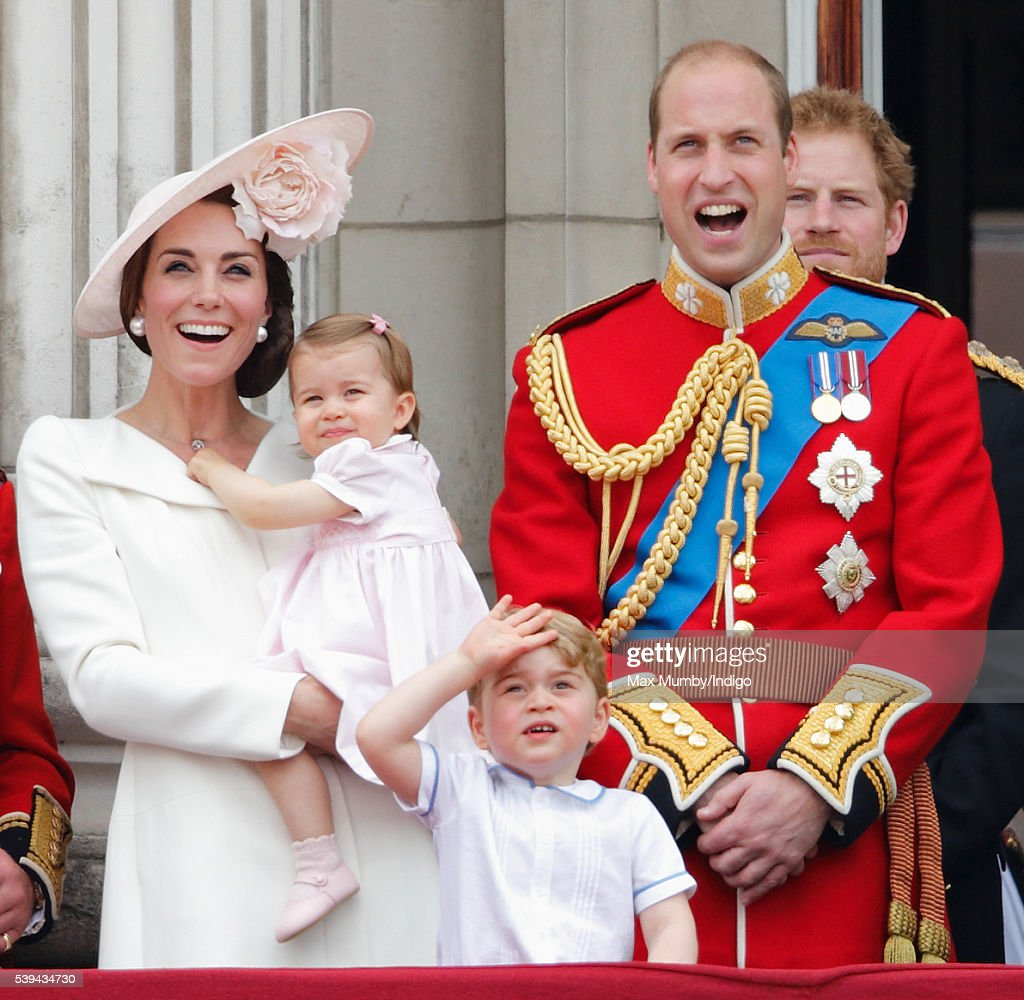 Catherine, Duchess of Cambridge, Princess Charlotte of Cambridge, Prince George of Cambridge and Prince William, Duke of Cambridge watch the flypast from the balcony of Buckingham Palace during Trooping the Colour, this year marking the Queen's 90th birthday on June 11, 2016 in London, England. The ceremony is Queen Elizabeth II's annual birthday parade and dates back to the time of Charles II in the 17th Century when the Colours of a regiment were used as a rallying point in battle.