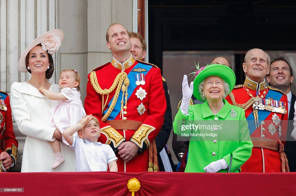 Catherine, Duchess of Cambridge, Princess Charlotte of Cambridge, Prince George of Cambridge, Prince William, Duke of Cambridge, Queen Elizabeth II and Prince Philip, Duke of Edinburgh watch the flypast from the balcony of Buckingham Palace during Trooping the Colour, this year marking the Queen's 90th birthday on June 11, 2016 in London, England. The ceremony is Queen Elizabeth II's annual birthday parade and dates back to the time of Charles II in the 17th Century when the Colours of a regiment were used as a rallying point in battle.