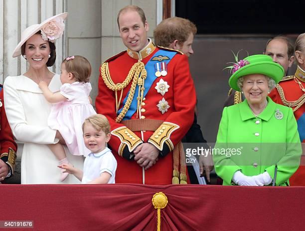 Catherine, Duchess of Cambridge, Princess Charlotte of Cambridge, Prince George of Cambridge, Prince William, Duke of Cambridge and Queen Elizabeth...