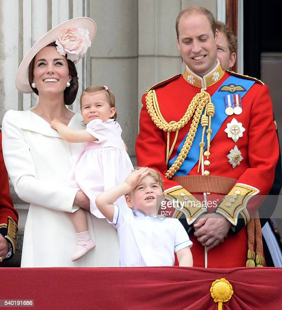 Catherine, Duchess of Cambridge, Princess Charlotte of Cambridge, Prince George of Cambridge and Prince William, Duke of Cambridge during the...