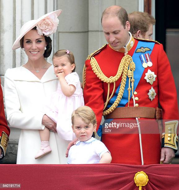 Catherine Duchess of Cambridge Princess Charlotte of Cambridge Prince George of Cambridge and Prince William Duke of Cambridge during the Trooping...