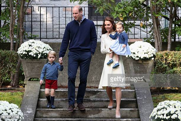 Catherine Duchess of Cambridge Princess Charlotte of Cambridge Prince George of Cambridge and Prince William Duke of Cambridge arrive for a...