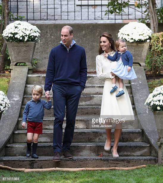Catherine Duchess of Cambridge Princess Charlotte of Cambridge Prince George of Cambridge and Prince William Duke of Cambridge arrive for a...