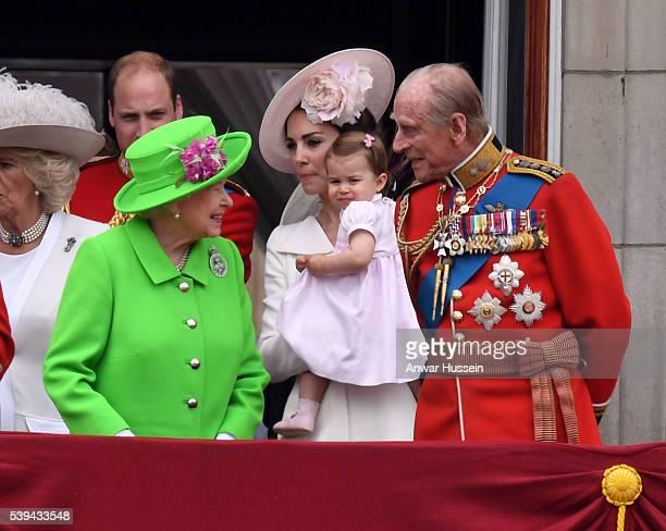 Catherine Duchess of Cambridge Princess Charlotte of Cambridge Queen Elizabeth ll and Prince Philip Duke of Edinburgh appear on the balcony of...