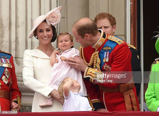 Catherine Duchess of Cambridge Princess Charlotte Prince George and Prince William Duke of Cambridge attend the Trooping the Colour this year marking...