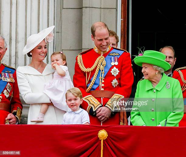 Catherine Duchess of Cambridge Princess Charlotte Prince George and Prince William Duke of Cambridge and Queen Elizabeth II tand on the balcony...