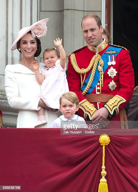 Catherine, Duchess of Cambridge, Princess Charlotte, Prince George and Prince William, Duke of Cambridge stand on the balcony of Buckingham Palace...