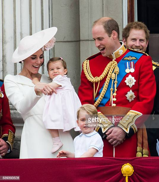 Catherine, Duchess of Cambridge, Princess Charlotte, Prince George, Prince William, Duke of Cambridge stand on the balcony during the Trooping the...