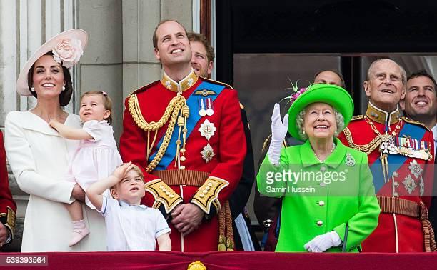Catherine Duchess of Cambridge Princess Charlotte Prince George Prince William Duke of Cambridge Queen Elizabeth II and Prince Philip Duke of...
