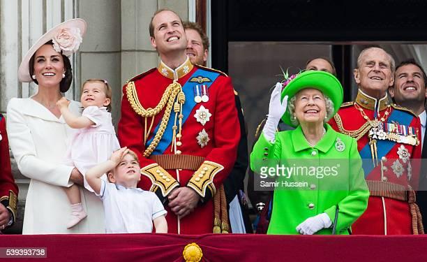 Catherine, Duchess of Cambridge, Princess Charlotte, Prince George, Prince William, Duke of Cambridge, Queen Elizabeth II and Prince Philip, Duke of...