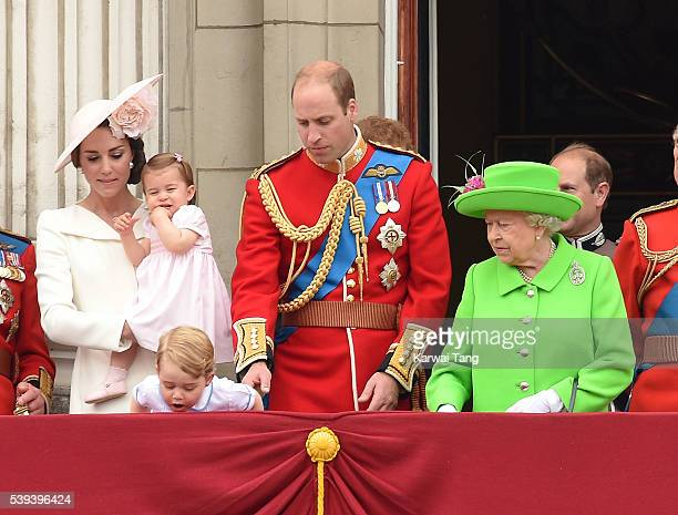 Catherine, Duchess of Cambridge, Princess Charlotte, Prince George, Prince William, Duke of Cambridge and Queen Elizabeth II attend the Trooping the...
