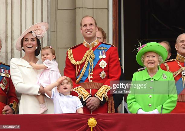 Catherine Duchess of Cambridge Princess Charlotte Prince George Prince William Duke of Cambridge and Queen Elizabeth II attend the Trooping the...