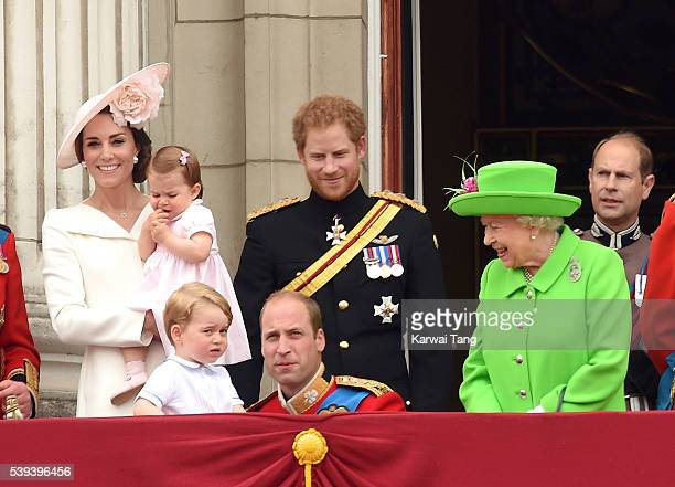 Catherine Duchess of Cambridge Princess Charlotte Prince George Prince William Duke of Cambridge Prince Harry and Queen Elizabeth II attend the...