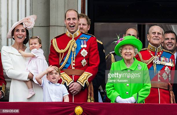 Catherine, Duchess of Cambridge, Princess Charlotte, Prince George, Prince William, Duke of Cambridge, Queen Elizabeth II and Prince Philip, Duke of...