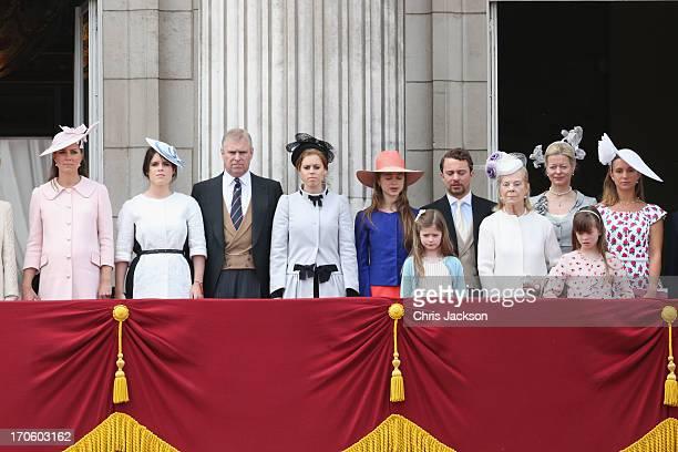 Catherine Duchess of Cambridge Princess Eugenie Prince Andrew Duke of York Princess Beatrice Katherine Duchess of Kent and Lady Helen Windsor during...