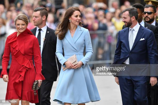 Catherine, Duchess of Cambridge , Princess Stephanie of Luxembourg , Prince Guillaume of Luxembourg leave the Grand Ducal Palace after a one day...
