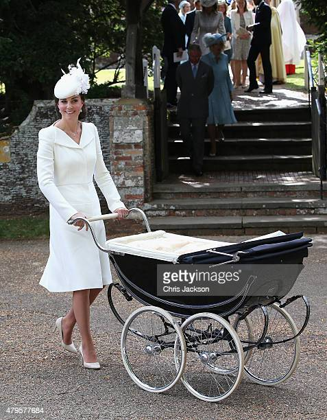 Catherine Duchess of Cambridge pushes Princess Charlotte of Cambridge in her pram they leave the Church of St Mary Magdalene on the Sandringham...