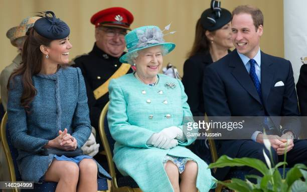 Catherine Duchess of Cambridge Queen Elizabeth II and Prince William Duke of Cambridge attend Vernon Park during a Diamond Jubilee visit to...