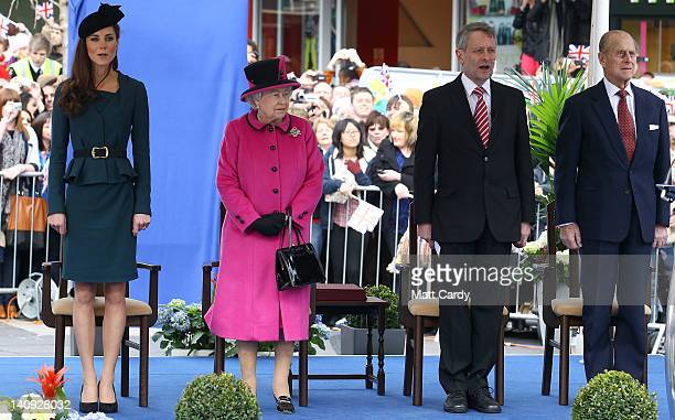 Catherine Duchess of Cambridge Queen Elizabeth II Leicester city mayor Peter Soulsby and Prince Philip Duke of Edinburgh in Leicester city centre on...