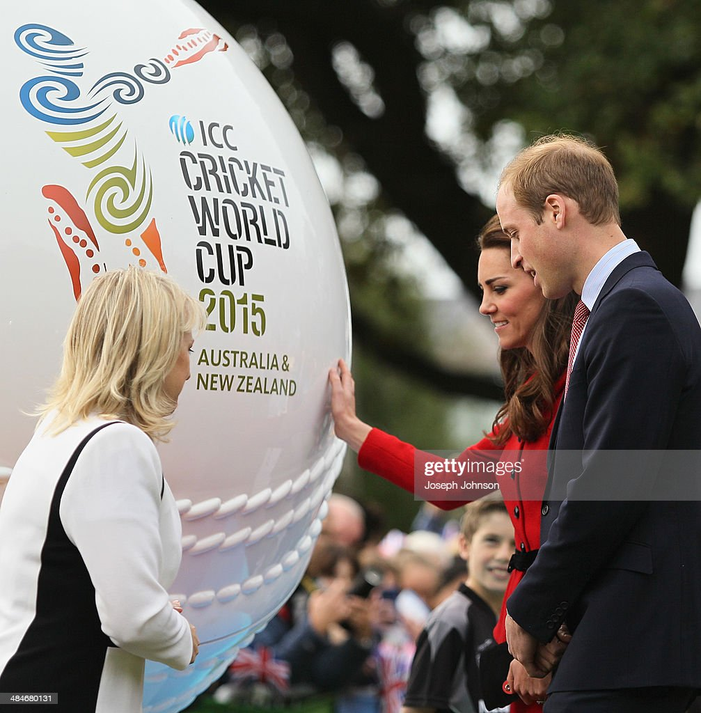 Catherine, Duchess of Cambridge reaches out to touch the replica cricket ball with Prince William, Duke of Cambridge. Therese Walsh, Head of New Zealand ICC Cricket World Cup 2015, (L) watching on during the countdown to the 2015 ICC Cricket World Cup at Latimer Square on April 14, 2014 in Christchurch, New Zealand. The Royal couple are currently in New Zealand and touring the country until Wednesday, when they then head to Australia.