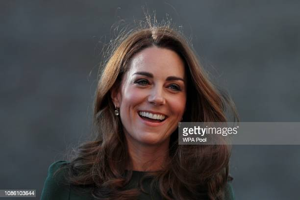 Catherine Duchess of Cambridge reacts as she arrives to launch a new national support line at the charity Family Action on January 22 2019 in...