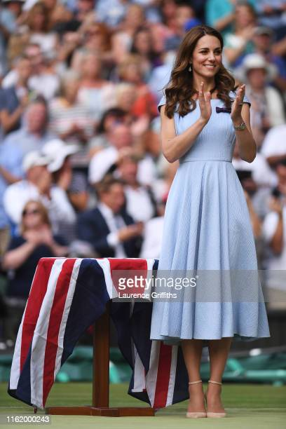 Catherine Duchess of Cambridge reacts during the trophy ceremony after the Men's Singles final against Roger Federer of Switzerland during Day...