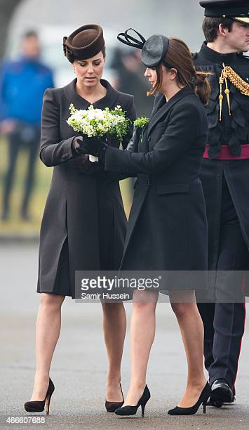 Catherine Duchess of Cambridge Rebecca Deacon attend the St Patrick's Day Parade at Mons Barracks on March 17 2015 in Aldershot England