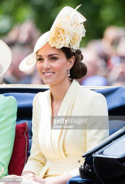 Catherine Duchess of Cambridge rides by carriage down the Mall during Trooping The Colour the Queen's annual birthday parade on June 08 2019 in...