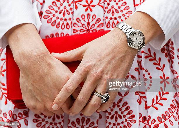 Catherine Duchess of Cambridge ring and watch detail departs Immigrant Services Society of BC on September 25 2016 in Vancouver Canada Prince William...