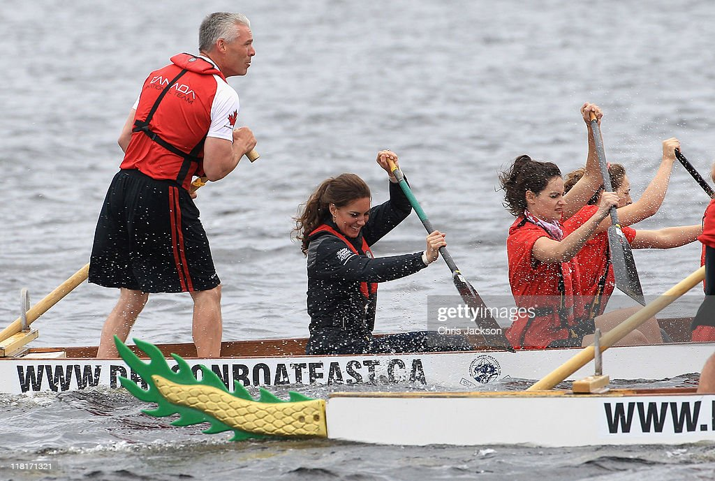 Catherine, Duchess of Cambridge rows in a dragon boat across Dalvay lake on July 4, 2011 in Charlottetown, Canada. The newly married Royal Couple are on the fifth day of their first joint overseas tour. The 12 day visit to North America is taking in some of the more remote areas of the country such as Prince Edward Island, Yellowknife and Calgary. The Royal couple started off their tour by joining millions of Canadians in taking part in Canada Day celebrations which mark Canada's 144th Birthday.