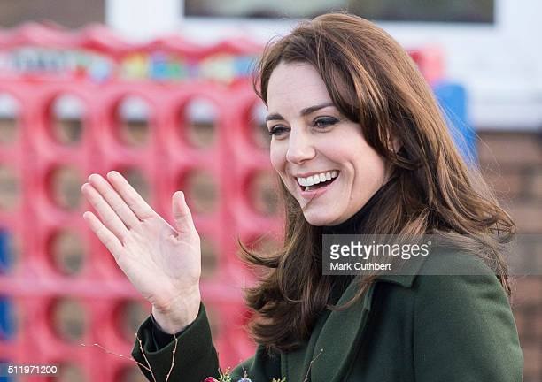 Catherine Duchess of Cambridge Royal Patron of Place2Be visits St Catherine's Primary School on February 24 2016 in Edinburgh Scotland