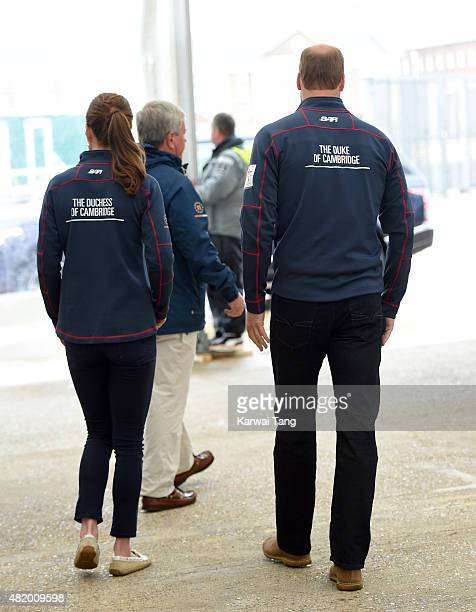 Catherine Duchess of Cambridge Royal Patron of the 1851 Trust accompanied by Prince William Duke of Cambridge attends the America's Cup World Series...