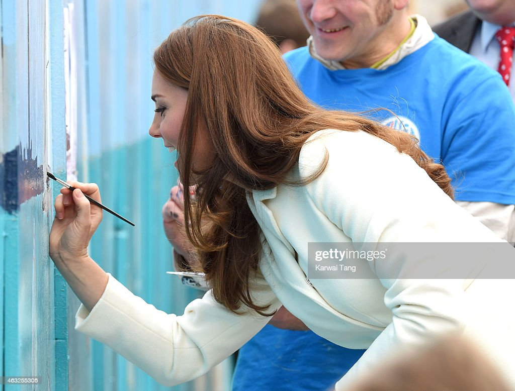Catherine, Duchess of Cambridge, Royal Patron of the 1851 Trust, visits Portsmouth to see the progress on the new home of Ben Ainslie Racing and the 1851 Trust and views an art project by the local community on February 12, 2015 in Portsmouth, England.