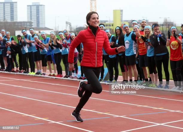 Catherine, Duchess of Cambridge runs a race during a training day for the Heads Together team for the London Marathon at Olympic Park on February 5,...