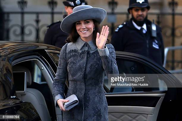 Catherine Duchess of Cambridge seen arriving at Westminster Abbey for Commonwealth Day on March 14 2016 in London England