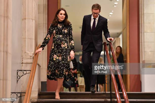 Catherine Duchess of Cambridge seen leaving the 'Victorian Giants' exhibition at National Portrait Gallery on February 28 2018 in London England