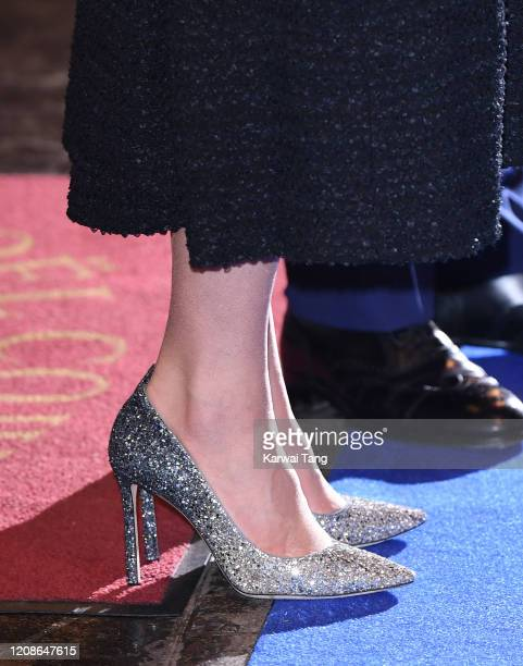 Catherine Duchess of Cambridge shoe detail accompanied by Prince William Duke of Cambridge attends a charity performance of Dear Evan Hansen in aid...