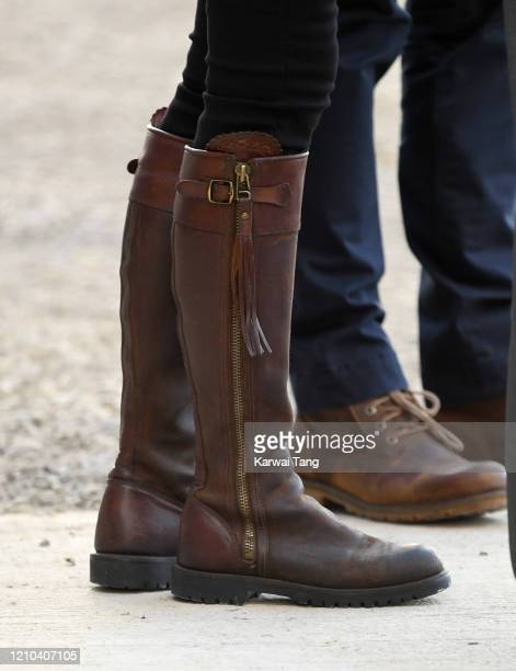 Catherine, Duchess of Cambridge, shoe detail, accompanied by Prince William, Duke of Cambridge visits Teagasc Research Farm on day two of their Royal...
