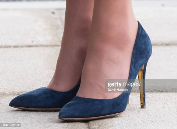 Catherine, Duchess of Cambridge, shoe detail, arrives to officially open McLaren AutomotiveÕs new Composites Technology Centre on November 14, 2018...