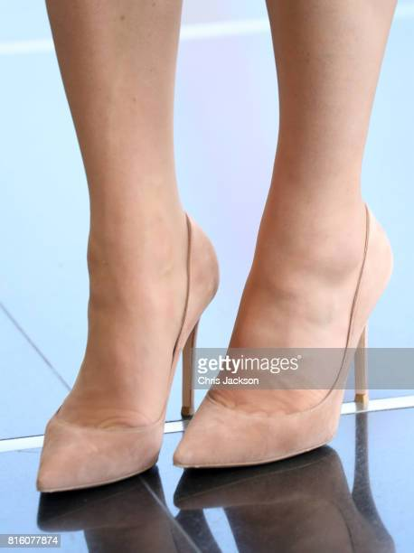 Catherine Duchess of Cambridge shoe detail arrives with Prince William Duke of Cambridge to meet young entrepreneurs during a reception at the Heart...