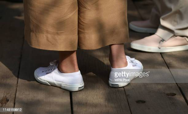 Catherine Duchess of Cambridge shoe detail as she visits her garden at the RHS Chelsea Flower Show at the Royal Hospital Chelsea on May 20 3019 in...