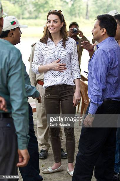 Catherine Duchess of Cambridge shoe detail as she visits Kaziranga National Park for an open air Jeep safari on April 13 2016 in Guwahati India