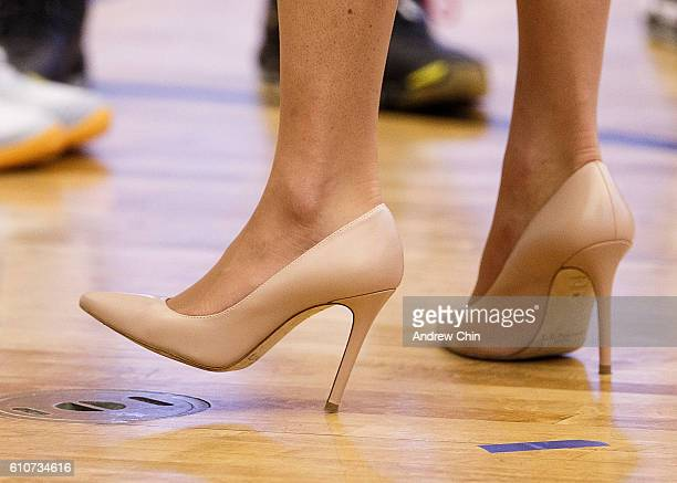 Catherine Duchess of Cambridge shoe detail attends a volleyball match at University of British Columbia Okanagan on September 27 2016 in Kelowna...