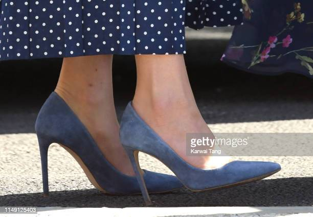 Catherine, Duchess of Cambridge, shoe detail, visits the D-Day exhibition at Bletchley Park on May 14, 2019 in Bletchley, England. The D-Day...