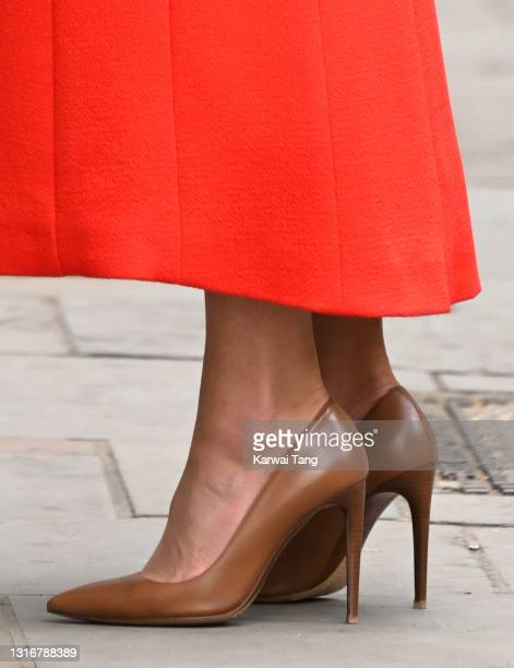 Catherine, Duchess of Cambridge, shoe detail, visits the National Portrait Gallery Archive on May 07, 2021 in London, England.