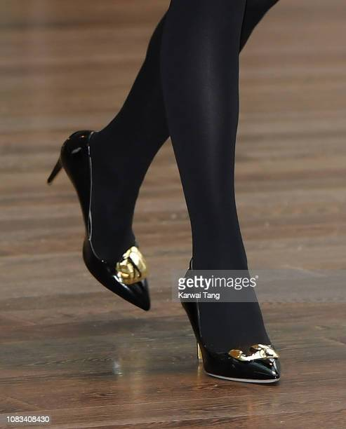 Catherine Duchess of Cambridge shoe detail visits the Royal Opera House to learn more about their use of textiles commissioning of fabrics and supply...