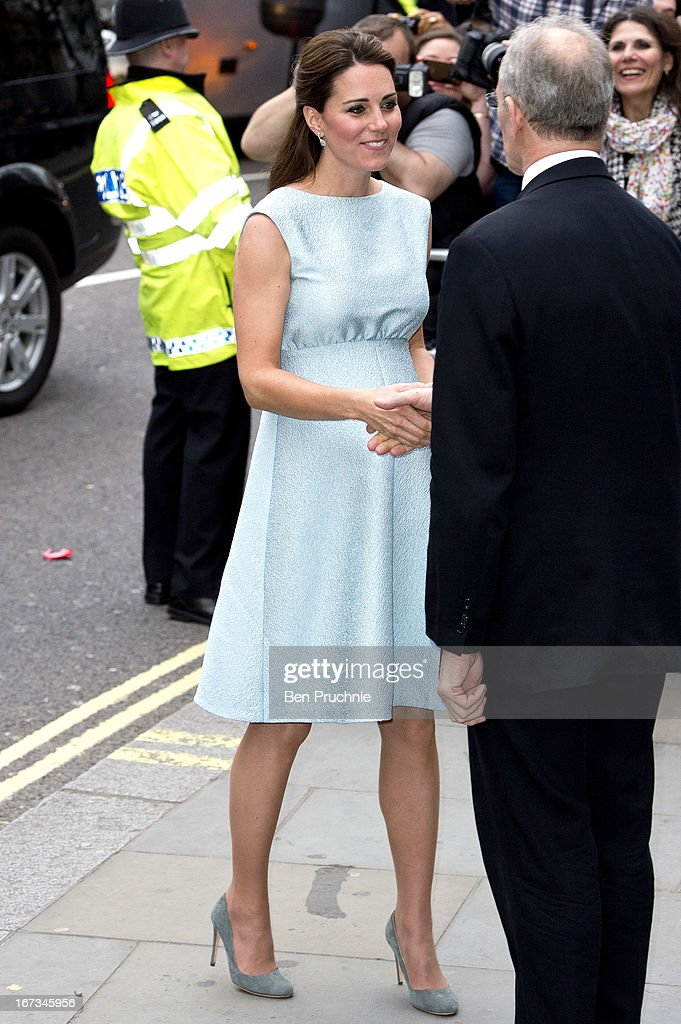 Catherine, Duchess of Cambridge sighted arriving at the National Portrait Gallery on April 24, 2013 in London, England.