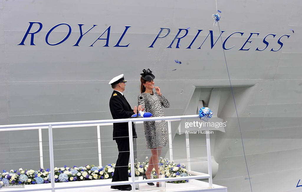 Catherine, Duchess of Cambridge smashes a champagne bottle as she attends the naming ceremony for the ship 'Royal Princess' on June 13, 2013 in Southampton, England.